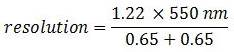 Numerical equation for resolution