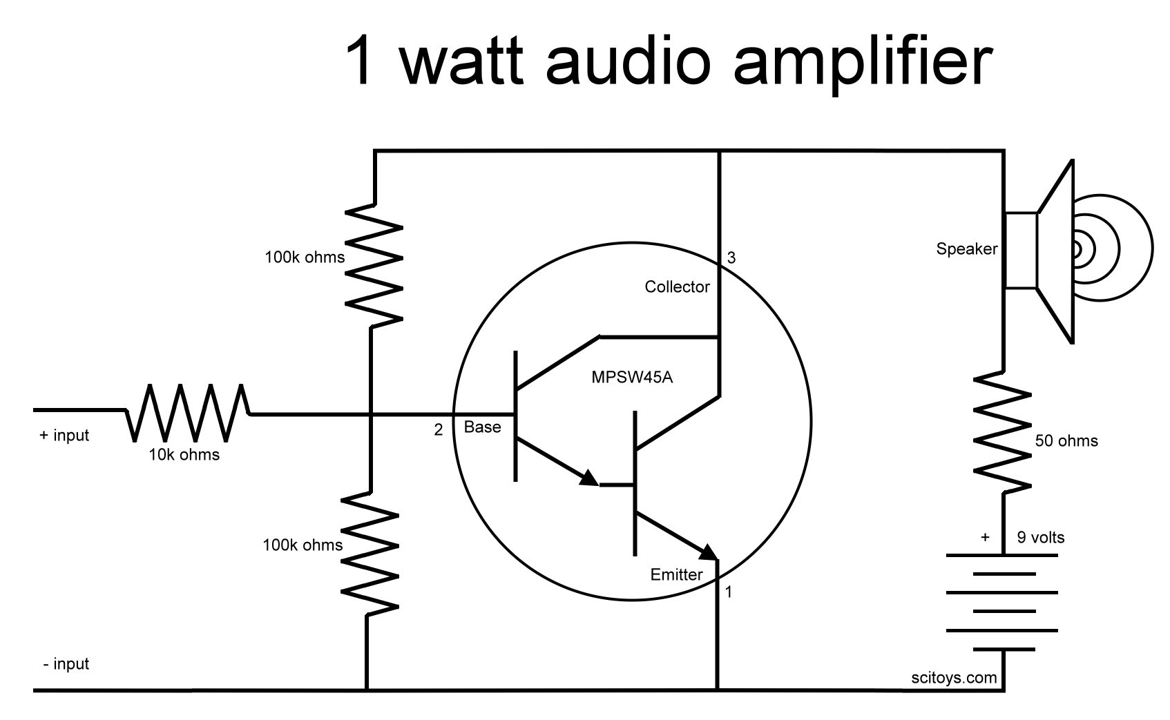 A Simple 1 Watt Audio Amplifier Science Toys Transistor Wiring Diagram Schematic